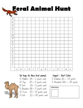 A grid referencing activity that also uses addition and