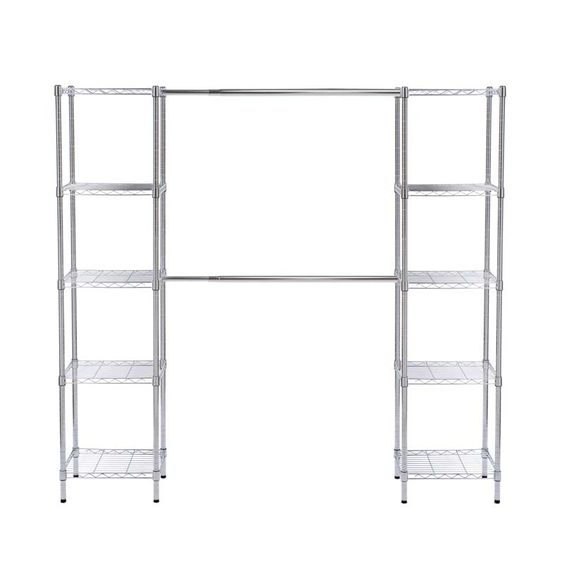 This shelving system is constructed of steel wire and