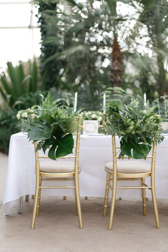 Greenery Chair Back Decor | Wisley Venue Hire | Botanical Wedding Decor Ideas | Greenery | Amy Fanton Photography | http://www.rockmywedding.co.uk/greenery-wedding-decor/: