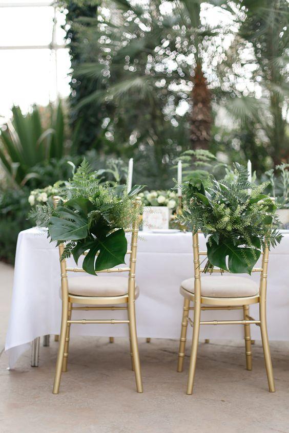 Greenery Chair Back Decor | Wisley Venue Hire | Botanical Wedding Decor Ideas | Greenery | Amy Fanton Photography | http://www.rockmywedding.co.uk/greenery-wedding-decor/: