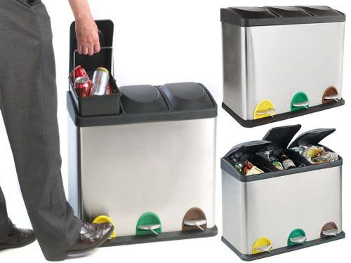 60L LITRE STAINLESS STEEL 3 COMPARTMENT RECYCLING BIN