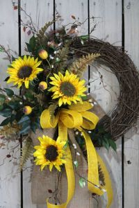 Sunflower Front Door Wreath, Country Fall Wreath, by ...