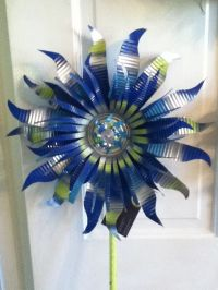 Recycled can art - love blue | Bottle Trees & Tin Can ...