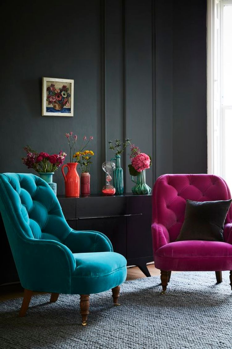 Our Penelope armchair, with its high, tufted back makes it one comfy place to take the weight off your feet and its smart, turned legs are a lovely traditional feature. Penelope would work brilliantly as an accent chair to offset larger items around the living room or, alternatively, would sit very pretty in the corner of the bedroom. The Penelope armchair is shown in magenta and teal velvet fabrics, but can be made bespoke in any fabric that you'd like.: