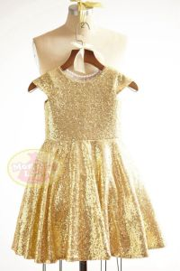 Cap Sleeves Gold Sequin Flower Girl Dress Junior ...