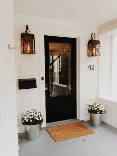 romantic lanterns at front door