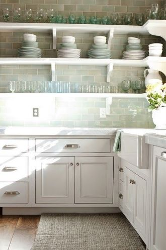 soft sea green subway tile backsplash