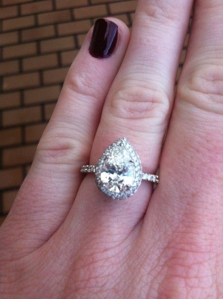 179 Carat Center Pear Engagement Ring With Skinny Band