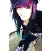 black purple and teal hair dark