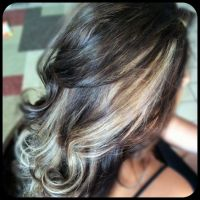 deep chocolate brown hair color with blonde peek a boo ...