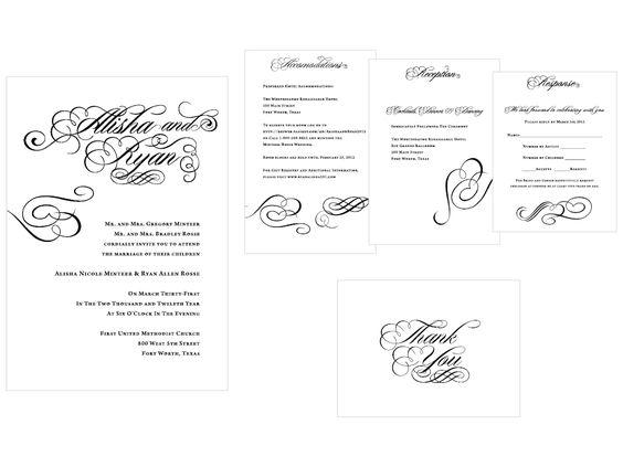 Wedding invitation and accompanying pieces Keywords