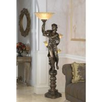 Bronze Maiden Statue Torchiere Floor Lamp | Torchiere ...