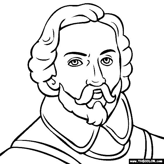 100% free coloring page of Juan Rodriguez Cabrillo. Color