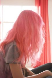 pink hair funky color style