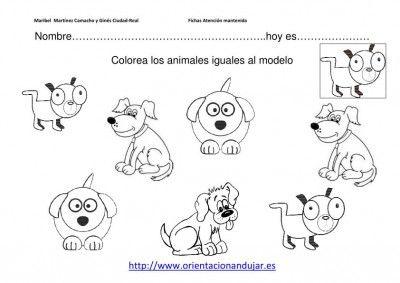 colorea los animales iguales al modelo nivel inicial