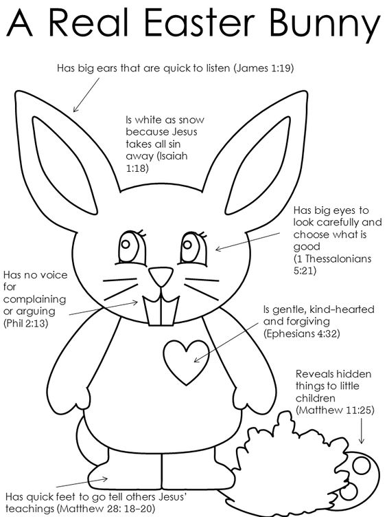 A Real Easter Bunny coloring from DLTK with scripture