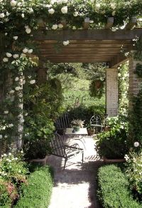 rose covered brick pergola | Envy | Pinterest | Gardens ...