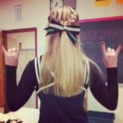 cheer hair. french braids bow
