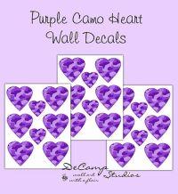PURPLE CAMO DECALS Heart Wall Art Teen Girl Camouflage ...