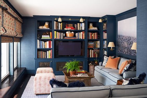 Ashley Whittaker Design: Incredible condo with dark blue grass cloth papered walls and custom built-in media ...: