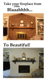 Fireplace Transformation: updated 1980s fireplace with ...