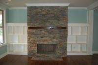 Ledge-stone Fireplace with Built-Ins. | Interior's ...