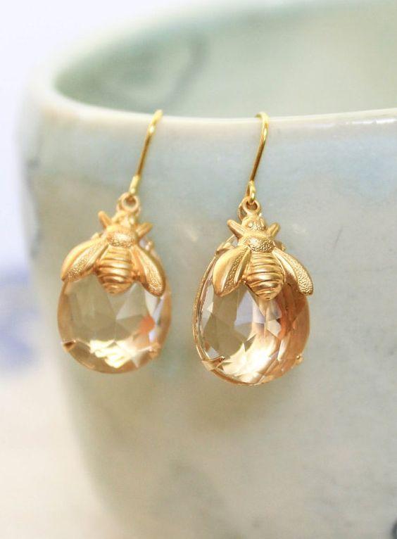 Honey Bee Earrings Summer Jewelry Gold Bumblebee Drop
