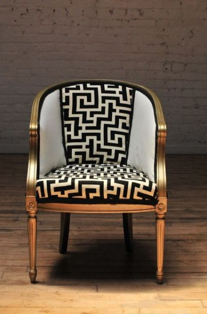 Love something like this for the Dad's barrel chair! Gives it a lot of design personality....really would make it the show piece. -- < This is now one of my Followers' Super FAVORITE pins ... https://www.pinterest.com/pin/507710557967681411/ . >:
