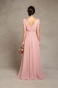 Beautiful Pink Short Sleeved Long Pink Chiffon Bridesmaid ...