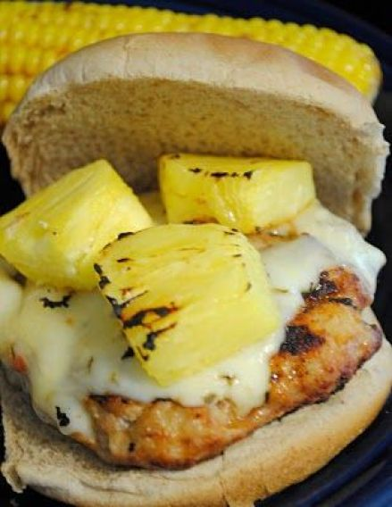 Summer meal - Spicy Hawaiian chicken burgers with pepperjack cheese and pineapple. Yes!!