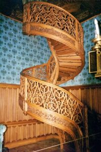 Spiral staircase, carved from one single tree trunk ...