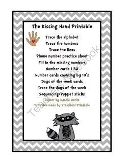 Kissing hand, The kissing hand and Preschool printables on