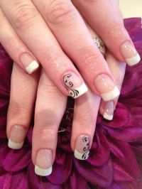 Cool White french With Black Swirl Nail Art Designs For ...