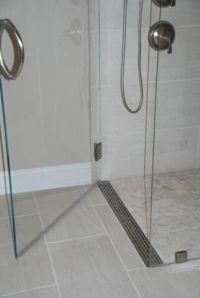 shower pan? Curbless shower with a linear drain at the ...