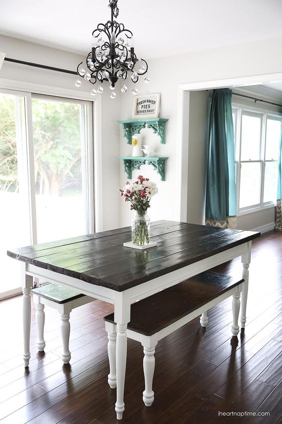 White And Grey Kitchen Makeover Farmhouse Table Farmhouse Coffee Tables And Table Dressing