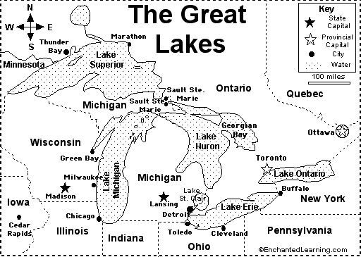 Great Lakes Map: Also includes a fill-in-the-blank sheet