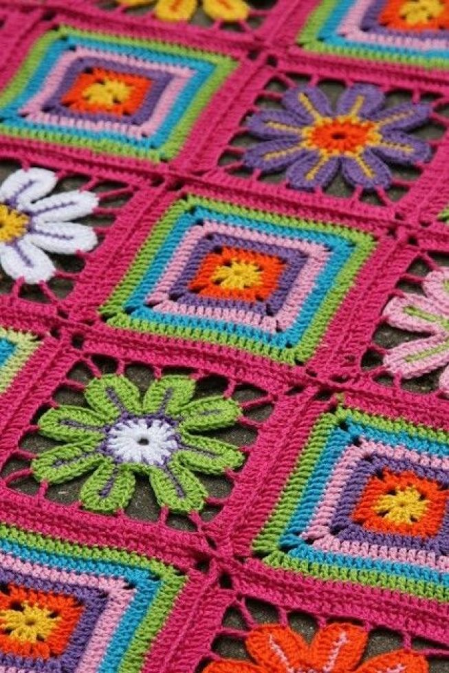 Granny square/flower petal crochet blanket, no pattern, but nice picture for inspiration: