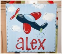 Nursery Art, Airplane Art, Canvas Wall Art, Hand-painted ...