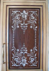 Stenciled kitchen door panel- I'm thinking white ...