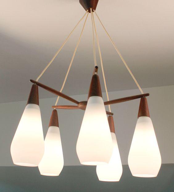 Swedish 60s Luxus Mid Century Chandelier Lamp Light Teak Glass Eames Juhl Andersen Selig