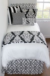 Trendy Black & White Damask Designer Teen Girl & Dorm Room ...