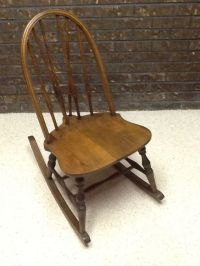 Antique spindle brace back sewing, nursing rocker ...