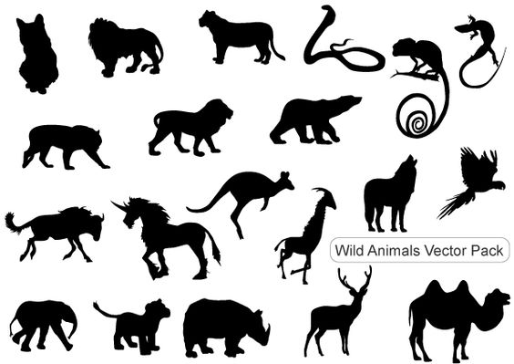 Wild animals silhouettes free vector pack including wolf