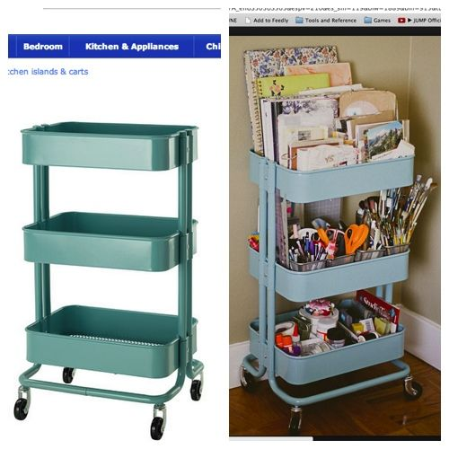 Raskog cart from Ikea for craft supplies in the dining
