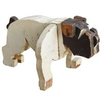 c. 1930's American Folk Art Wooden Bulldog Sculpture ...