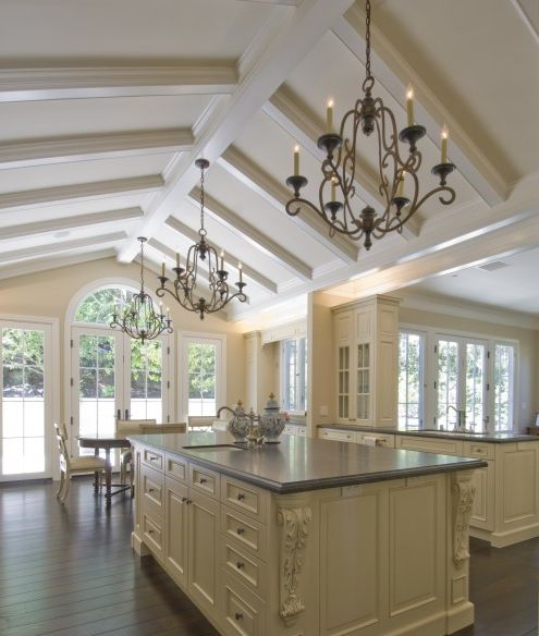 Vaulted Ceiling With Box Beams Kitchen Ideas Pinterest
