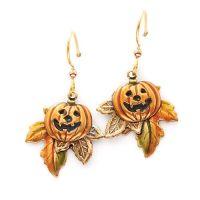 Silver Forest Pumpkin On Fall Leaf Earrings | Creative ...