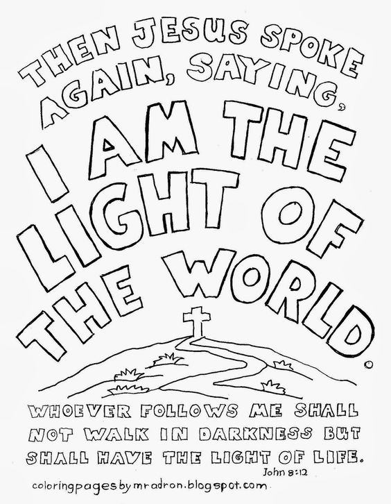 I am the light of the world coloring page. See more at my
