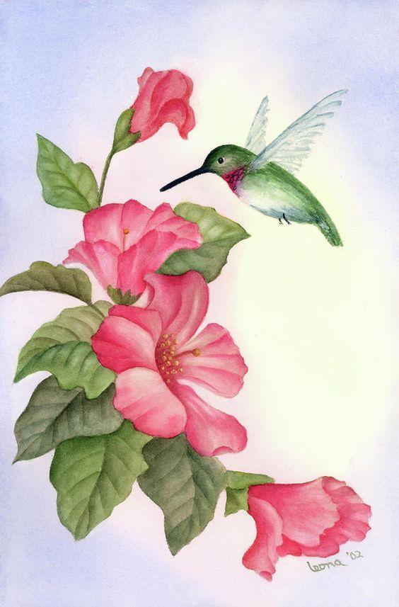 hummingbirds clip art and flower
