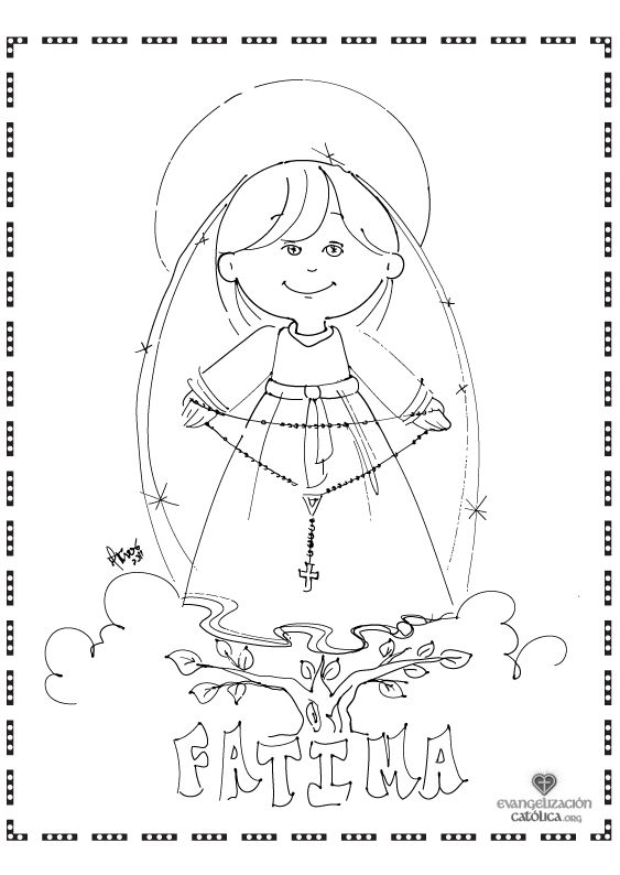 Cute coloring page for Our Lady of the Rosary. Perfect for
